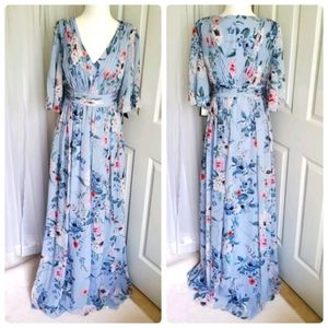 NWT Adrianna Papell Blue Floral Maxi Dress